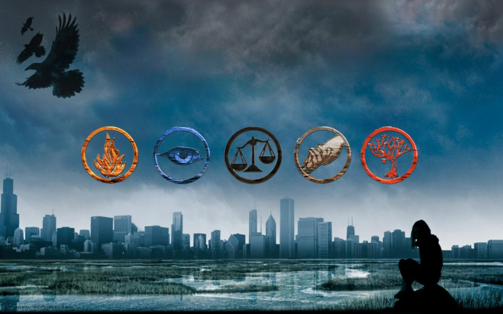Faction Symbols (from left to right): Dauntless, Erudite, Candor, Abnegation, Amity