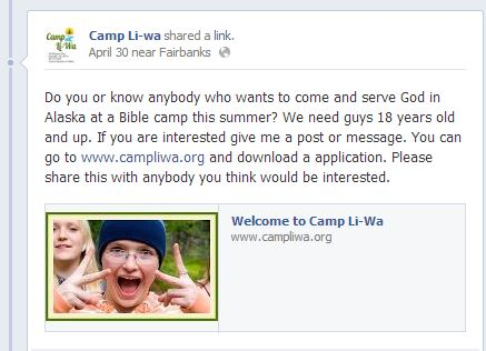 Camp LiWa needs Help!